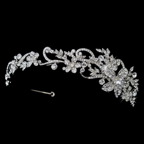 Clear, Hair Vines, Headband, Headpieces, Rhinestones, Rhodium, Side Headband