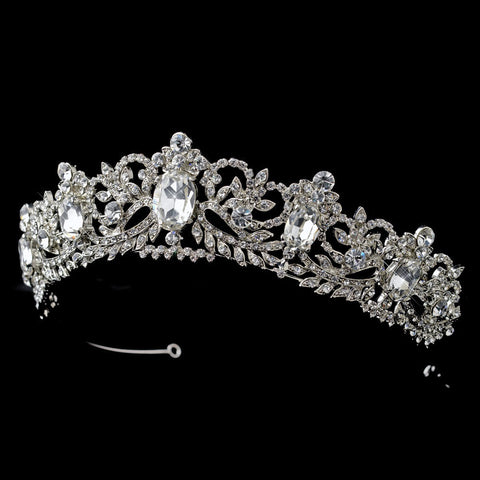 Clear, Headpieces, Pageant Crowns, Rhinestones, Rhodium, Tiara