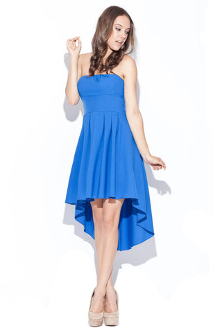 Powder Blue Tube Pleated Hi-Low Dress