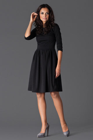 Black 3/4 Inch Sleeve Dancer Style Swing Dress
