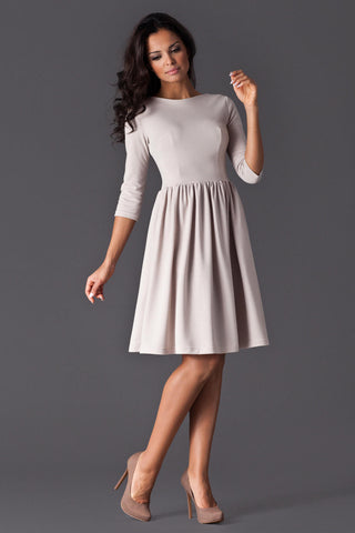 Cream 3/4 Inch Sleeve Dancer Style Swing Dress