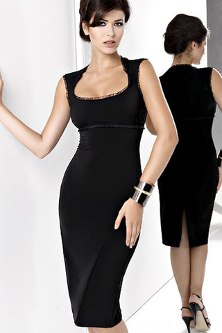 Black Cap Sleeve Empire Waist Silhouette Dress with Back Slit
