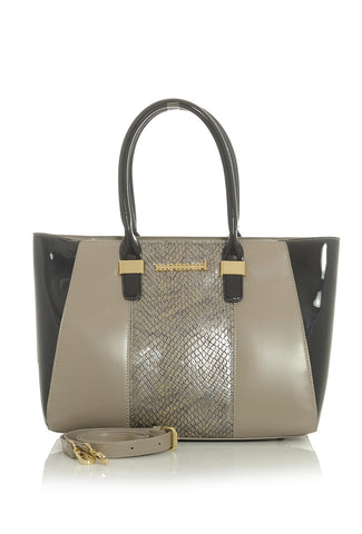 Taupe & Black Snakeskin Accent Alexis Handbag