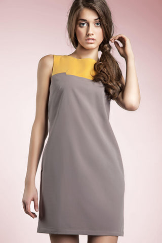 Mocha Gray and Orange Block Dress