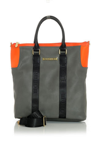 Charcoal & Orange Handbag with Black Accent Trim