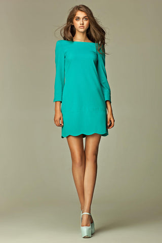 Mint Green 1960's Inspired Long Sleeve Scalloped Hem Mini Dress with Slits
