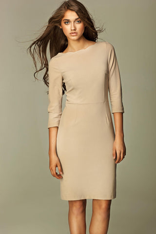Beige 3/4 Inch Sleeve Knee Length Business Dress