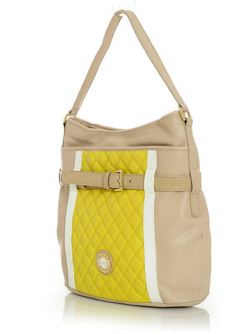 Quilted Neon Yellow & Beige Handbag with Buckel and White Accents