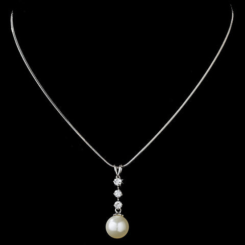 Jewelry, Necklace, Rhodium, White