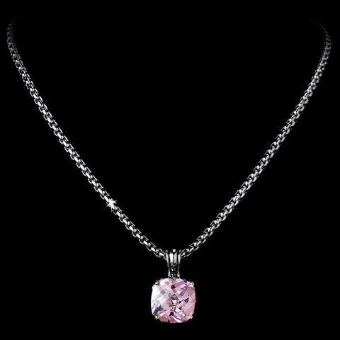 Jewelry, Necklace, Pink, Rhodium