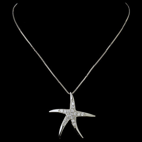 Beach, Clear, Jewelry, Necklace, Rhodium, Starfish