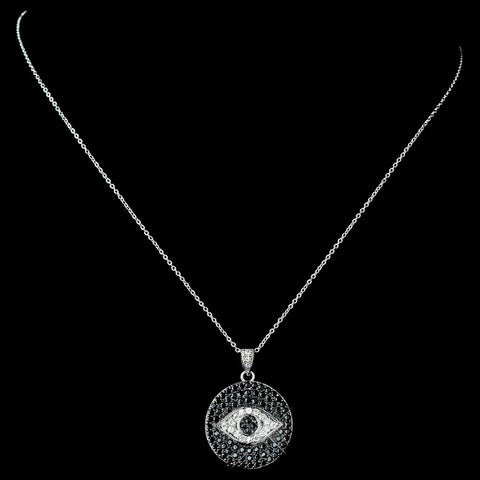 Black, Jewelry, Necklace, Rhodium