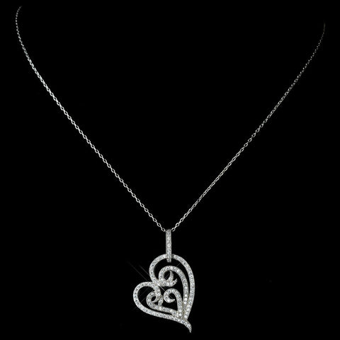 Clear, Hearts, Jewelry, Necklace, Rhodium, Valentine's Day
