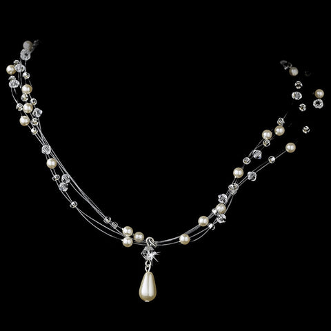 Illusion Jewelry, Ivory, Jewelry, Necklace, Silver, White