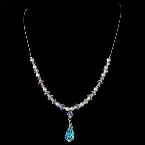 AB, Blue, Clear, Illusion Jewelry, Ivory, Jewelry, Necklace, Pink, Silver, White