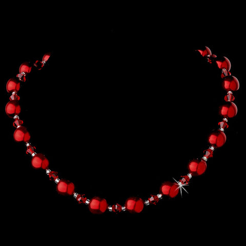 Jewelry, Necklace, Red, Silver