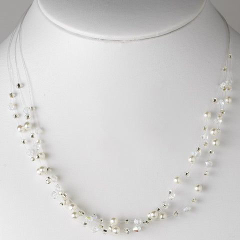 Jewelry, Necklace, Silver, White