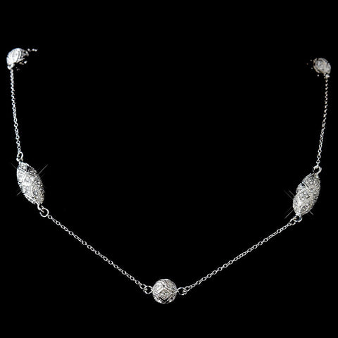 Clear, Jewelry, Necklace, Rhodium