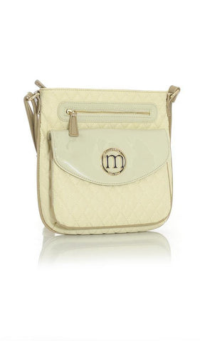 Cream Quilted Everyday Handbag with Taupe Trim