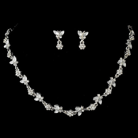 Butterfly, Jewelry, Jewelry Set, Silver, White