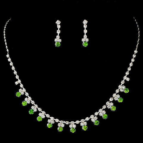 Green, Jewelry, Jewelry Set, Silver