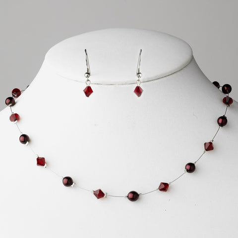 Burgundy, Jewelry, Jewelry Set, Red, Silver
