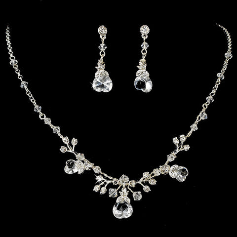 Clear, Hearts, Jewelry, Jewelry Set, Silver, Valentine's Day