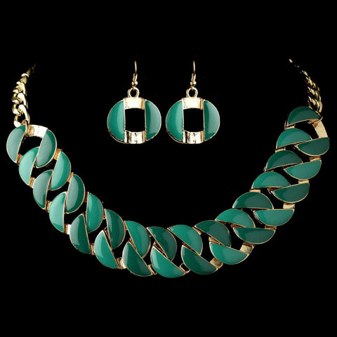 Enamel, Gold, Green, Jewelry, Jewelry Set