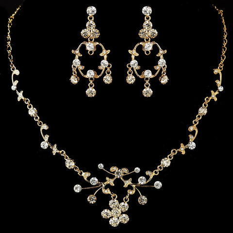 Clear, Gold, Jewelry, Jewelry Set