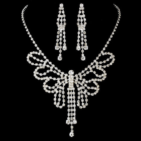Butterfly, Clear, Jewelry, Jewelry Set, Silver