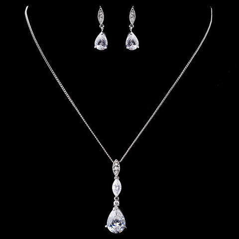 Clear, Jewelry, Jewelry Set, Rhodium, Solid 925 Sterling Silver
