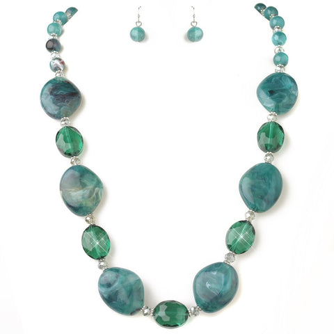 Blue, Jewelry, Jewelry Set, Silver, Teal