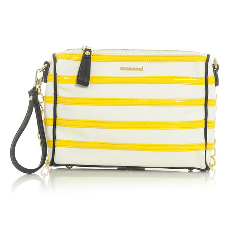 White-&-Yellow-Clutched-Handbag-with-Black-&-Gold-Accented-Trim