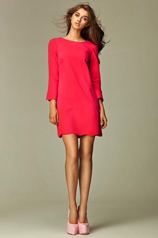 Hot Pink 1960's Inspired Long Sleeve Scalloped Hem Mini Dress with Slits