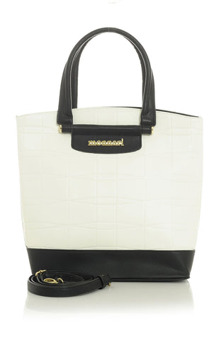 White-Textured-Handbag-with-Black-Trim-&-Accents