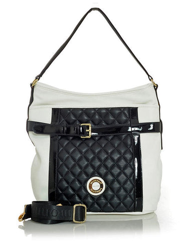 Quilted Black & White Handbag with Buckel