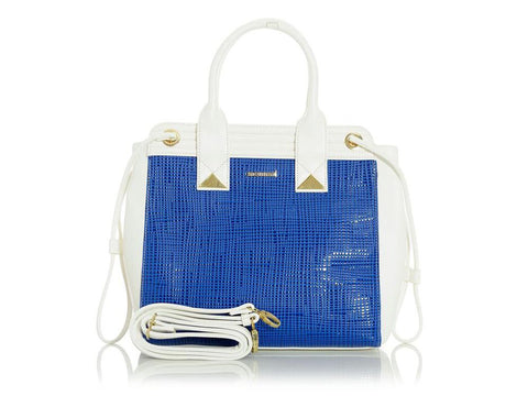Blue & White Medium Tote Handbag