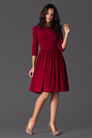 Maroon 3/4 Inch Sleeve Dancer Style Swing Dress