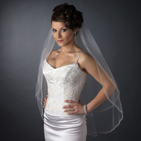Double, Fingertip, Ivory, Organza, Veil, White