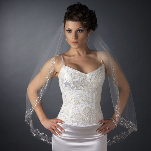 Cut, Fingertip, Ivory, Lace, Sequins, Single, Veil, White