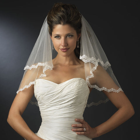 Double, Ivory, Lace, Scalloped, Shoulder, Veil, White