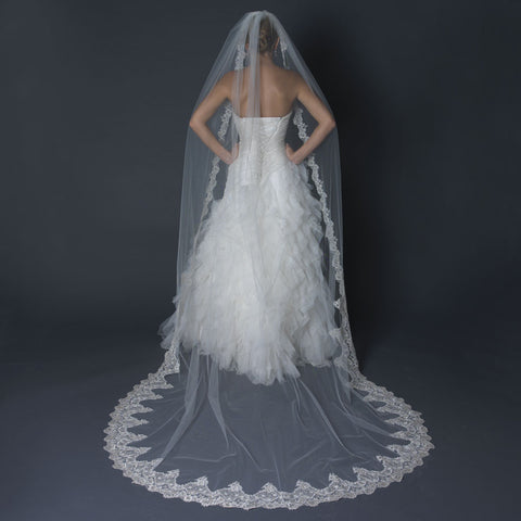 Cathedral, Faux Pearls, Ivory, Lace, Pearls, Rhinestones, Scalloped, Single, Veil