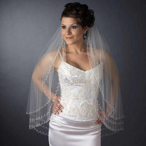 Beaded, Beads, Double, Elbow, Ivory, Scalloped, Veil, White