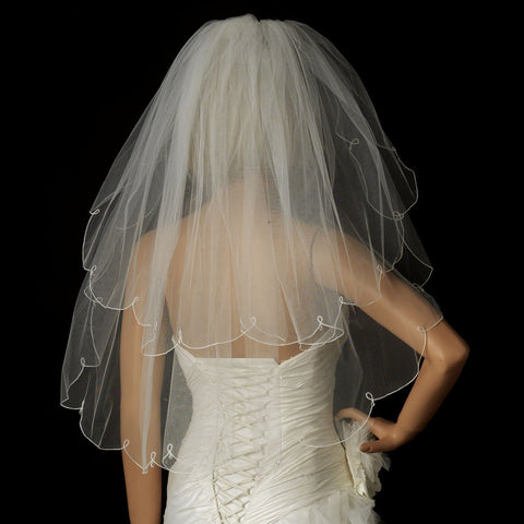Double, Fingertip, Ivory, Rhinestones, Scalloped, Veil, White