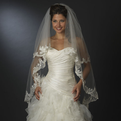 Double, Fingertip, Ivory, Lace, Scalloped, Veil, White