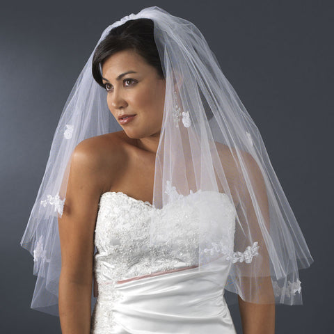 Cut, Double, Elbow, Faux Pearls, Ivory, Lace, Pearls, Veil, White