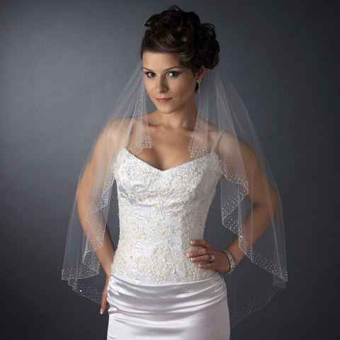 Beaded, Beads, Cut, Elbow, Ivory, Sequins, Single, Veil, White