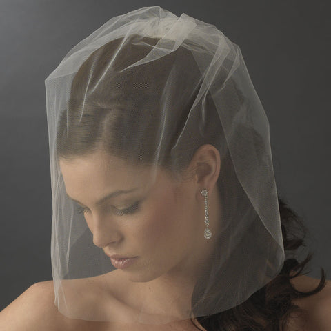 Birdcage & Blusher Veil, Cut, Face, Ivory, Veil, White