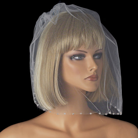 Beaded, Birdcage & Blusher Veil, Crystals, Cut, Face, Ivory, Swarovski Crystal Beads, Veil, White