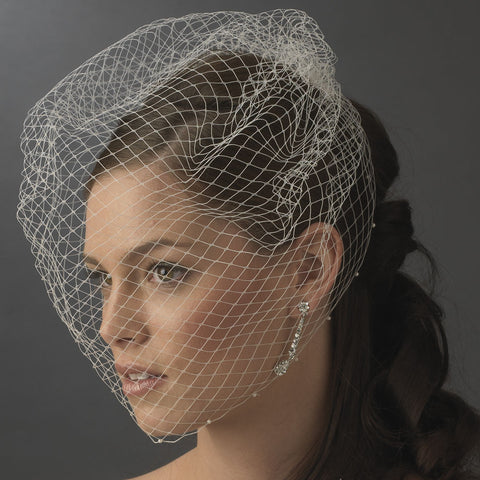 Beaded, Birdcage & Blusher Veil, Cut, Face, Faux Pearls, Ivory, Pearls, Veil, White
